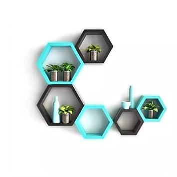 onlineshoppee Fancy Set von 6 Sechseckige Form MDF Wandregal Big ...