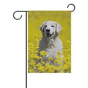 Azul Viper jardín bandera Golden Retriever en el patrón de flores Tela de poliéster resistente al agua y moho Resistan para al aire libre césped y jardín de doble cara impresión 12X 18inch