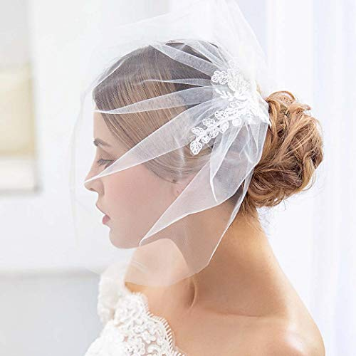 Aukmla Birdcage veil Lace Fascinator Veil Tulle Face Blusher Veil Stella Veil with Metal Comb for Brides (White)