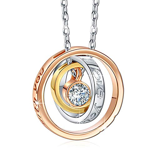 Moms Birthday Gifts Mom I Love You & Always be with You Love Ring Pendant Necklace, Fashion Jewelry for Women, Anniversary Easter Present for Wife, Aunt, Nana, Daughter