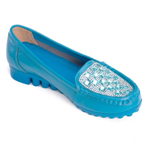 Amoonyfashion Dames Gesloten Ronde Neus Lage Hak Zacht Materiaal Pu Stevige Pumps Met Glas Diamantblauw