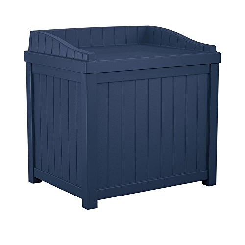 22 Gal. Small Storage Seat Patio Deck Box (Navy Blue) by Generic