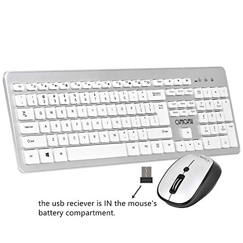 Wireless Keyboard and Mouse Combo with Secure 2.4GHz USB Nano Receiver Full Size F-Keys and Number Pad Precision Laser Mouse for Windows 7/8/10 Linux Vista XP Chrome OS(White and Silver)