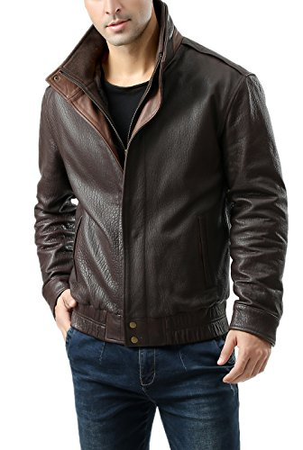 Lambskin Double Flap - BGSD Men's Brandon New Zealand Lambskin Leather Bomber Jacket - XL