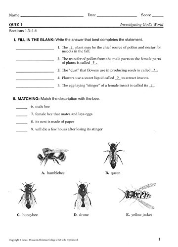 Investigating God's World Student Quizzes and Worksheets 5 (A Beka ...