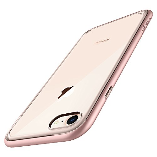 Spigen Neo Hybrid Crystal [2nd Generation] iPhone 8 Case/iPhone 7 Case with Clear Hard Casing and Reinforced Hard Bumper Frame for Apple iPhone 8 (2017) / iPhone 7 (2016) - Rose Gold