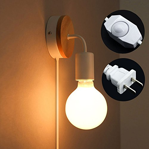 Minimalist Wall Light Sconce Plug-In E26/27 Base Modern Contemporary Style Down Lighting Dimmble Wall Lamp Fixture with Wood Base for Bedroom, Closet, Guest Room Hall Night Lighting (White) - Guest Room Lamp
