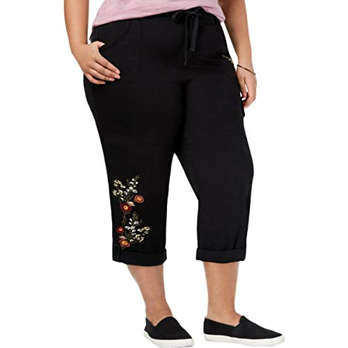 Style & Co. Womens Plus Embroidered Mid Rise Capri Pants Black 16W