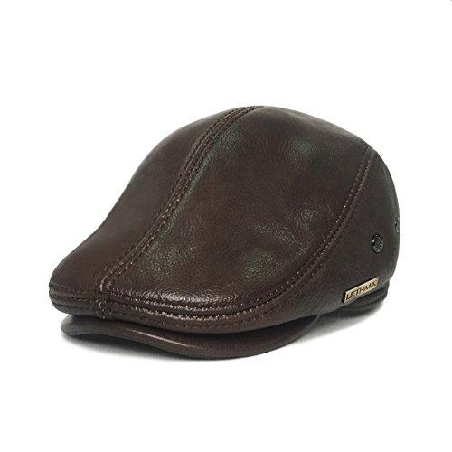 LETHMIK Flat Cap Cabby Hat Genuine Leather Vintage Newsboy Cap Ivy Driving Cap XL-Coffee