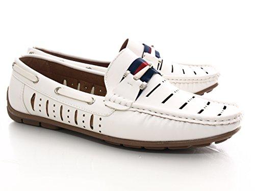 Herren Boot Yacht Sport Schuhe Mokassin Weiß # 7861