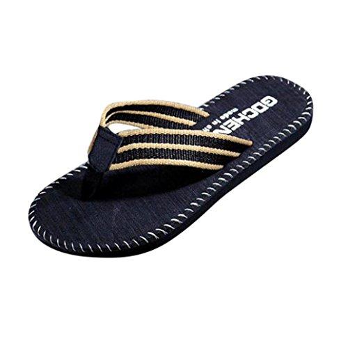 Voberry Men Summer Flip Flops Slipper Sandals Male Beach Shoes Sandals Black PsI98k