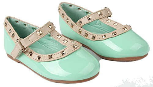 Baby Girls S-6A Teal T-Strap Rivet Studded Mary Jane Infant Toddler Ballet Flat Dress Shoes-7 - Image 2