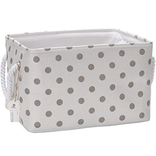 Storage Polka Dot - Sea Team Collapsible Rectangular Fabric Storage Bin Decorative Wardrobe Shelf Basket Organizer with Rope Handles for Clothes Storage & Toy Organizer (Grey Polka Dot)