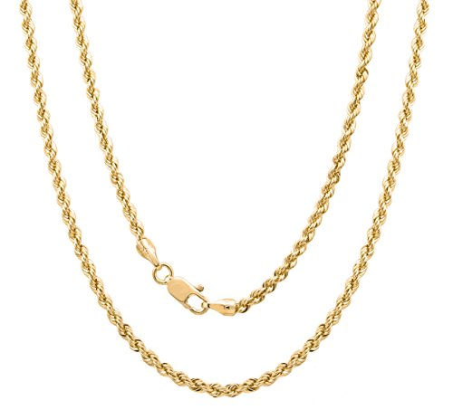 Roberto Martinez 14k Yellow-Gold-Plated-Bronze Italian 4 mm Laser-Cut Rope Chain, 36 Inch by 14k Yg Rope