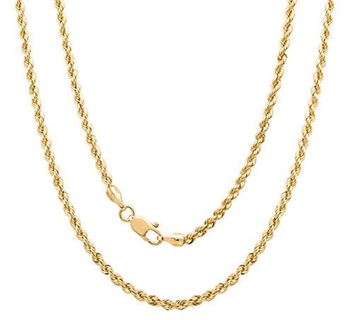 Roberto Martinez 14k Yellow-Gold-Plated-Bronze Italian 4 mm Laser-Cut Rope Chain, 36 Inch by (14k Yg Rope)