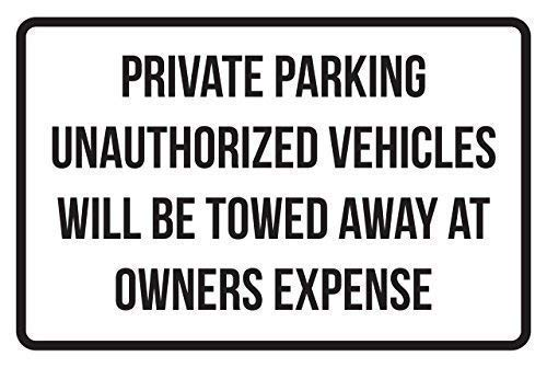 """Lilyanaen New Metal Sign Aluminum Sign Private Parking Vehicles Will Be Towed Away at Owners Expense Business Safety Traffic Signs Black Room Plaque Sign for Outdoor & Indoor 8""""x12"""""""