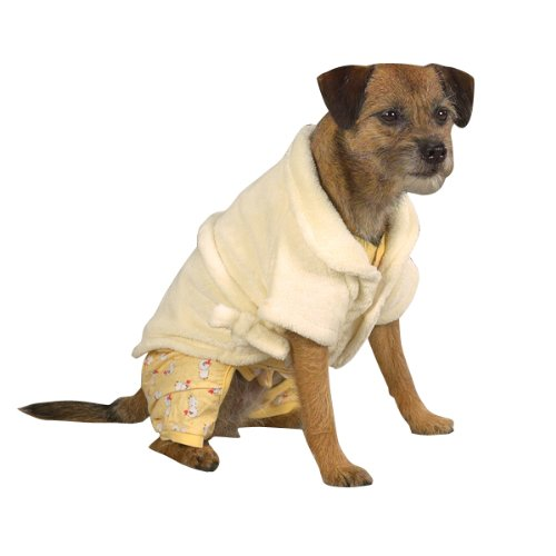 Casual Canine 8-Inch Polyester Cozy Dog Bathrobe, XX-Small, Yellow, My Pet Supplies