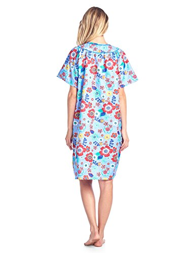 Casual Nights Women's Floral Woven Snap-Front Lounger House Dress - Blue - XX-Large by Casual Nights (Image #4)