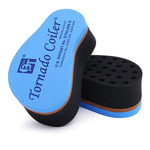Beauty Town Mini Tornado Coiler Hair Brush Sponge Daily Hair Styling Tool for Natural Afro Twists Coils 10mm holes (Blue) ()