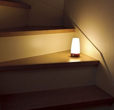 ZEEFO Retro LED Night Light Wireless PIR Motion Sensor Light,Activated Step lighting Lamps,Indoor/Outdoor Battery-Operated Light-Sensitive Portable Moving Table Lamp for Kids Room,Hallway(Round Shape)
