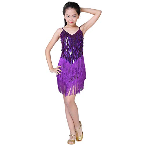 Girls Dancing Dresses, Sequin Tassel Skirt Latin Dance Costumes for Kids, Salsa Ballet Tango Rumba Ballroom Dancewear (L, Purple) -