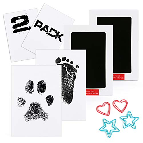 Scotamalone 2 Packs Baby Handprint and Footprint Ink Pads - Large Size - Pet Paw Print Ink Kits - Non-Toxic Safe and Clean-Touch - for Family Keepsake Baby Shower Gift and Registry from Scotamalone