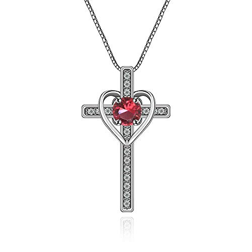 (Crystal Pendant Necklace for Women - 14k White Gold Plated Sterling Silver Ruby CZ Cross and Heart Pendant Necklace Small Elegant Good Luck Necklace Charm for Girls Costume Jewelry Birthday)