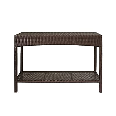 Magari Furniture MA-04 Outdoor Indoor Wicker Garden Patio Pool Towel Shoe Shelf Multipurpose Console Rack, Brown