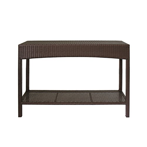 Magari Furniture MA-04 Outdoor Indoor Wicker Garden Patio Pool Towel Shoe Shelf Multipurpose Console Rack, Brown (Patio Console Table)