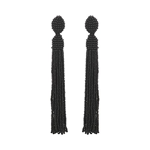 Bead Earrings Dangle for Women Long Beaded Dangle Tassel Earrings Seed Bead Black - Black Dangle Earrings