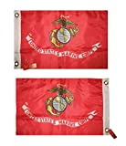 ALBATROS 12 in x 18 in USMC Marines Marine Corps Double Sided 2ply Nylon Flag with Pin for Home and Parades, Official Party, All Weather Indoors Outdoors