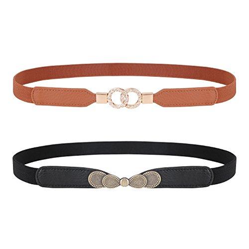 Dress Cinch Waist (Lady Skinny Leather Belt Elastic Waist Cincher Interlock Belt Buckle Dress Cinch By JASGOOD)