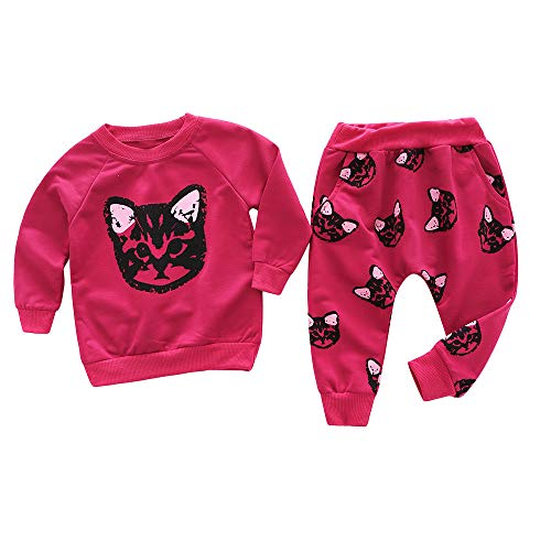 Kids Outfits Set MITIY Fall Winter Cotton Long Sleeve Cats Print Tracksuit +Pants Toddler 2Y-6Y (Red, -