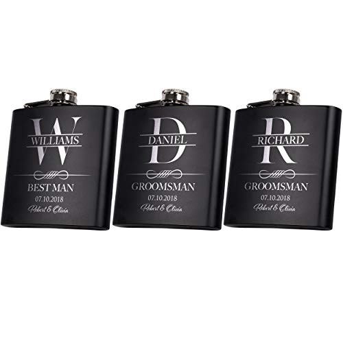 Set of 3 Personalized Flask Set, Groomsmen Gift, Customized Groomsman Flask Comes with Stainless Steel Funnel, Matte Black #11 ()