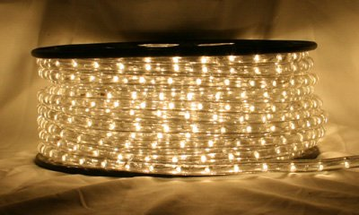 "CBConcept® Warm White 66 FT 110V-120V 2-Wire 1/2"" LED Rope Light, Christmas Lighting, Indoor / Outdoor rope lighting"