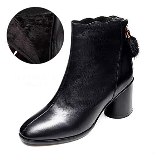 Cortas B Femenino E Mujer Tacones Europeo Botas Gruesa Altos Zapatos Cuadrada Cuero Cabeza De Soporte Invierno Otoño Martin Con UW7F7v