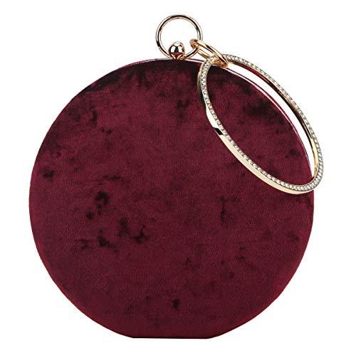 Fawziya Velvet Clutch Round Bag Rhinestone Purses For Women-Maroon