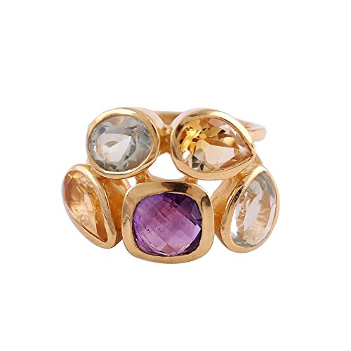 NOVICA Multi-Gem Citrine 18k Gold Vermeil Cocktail Ring 'the Five Allures'