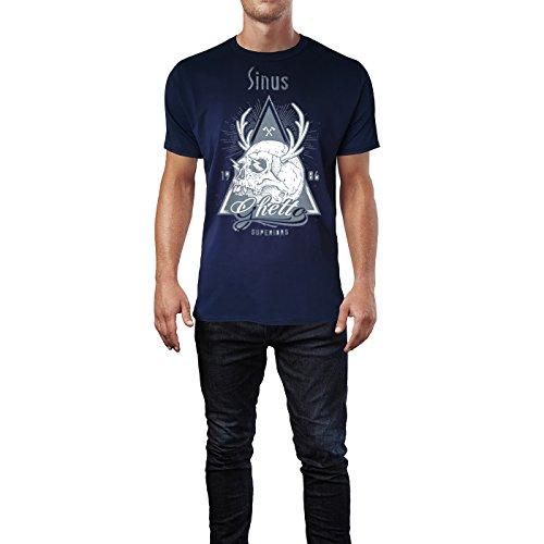 SINUS ART ® Totenkopf mit Hirschgeweih – 1986 Ghetto Superiors Herren T-Shirts in Navy Blau Fun Shirt mit tollen Aufdruck