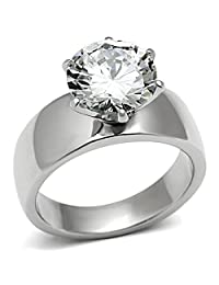 Wide Band Big 3.5 Carat Solitaire CZ Womens Stainless Steel Wedding Ring