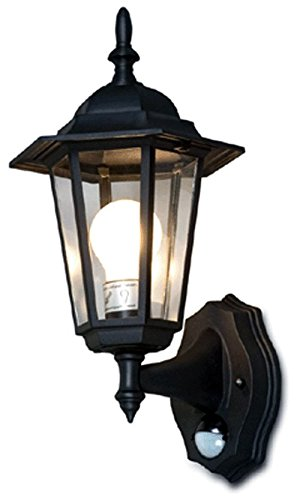Outdoor Wall Lighting System With Motion Sensor -Black (Lantern With Motion Detector)