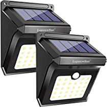Solar Lights, Luposwiten 28 LED Outdoor Solar Lights with Motion Sensor, 270°Wide Angle Waterproof Wireless Solar Powered Outdoor Motion Sensor Lights for Garden Patio Stair StepGarage(2-Pack)