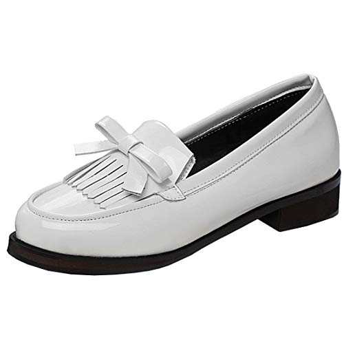 Vitalo Womens Bow Patent Leather Tassel Loafer Low Heel Work School Shoes Size 8.5 B(M) US,1 -