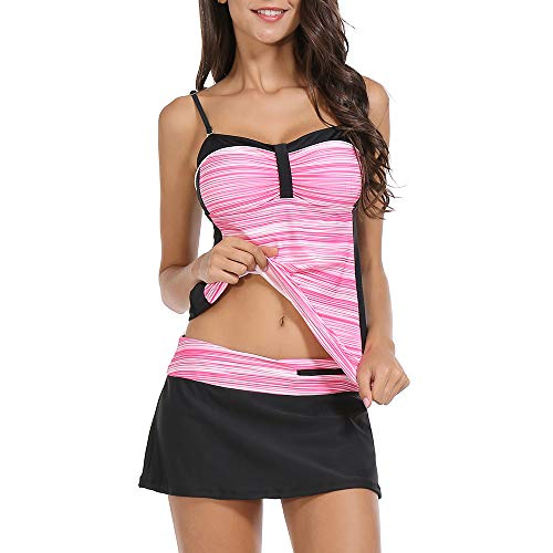 (ZEALOTPOWER Two Piece Bathing Suits for Women Tankini Swimsuits Halter Ruched Top with Skirted Bottom)
