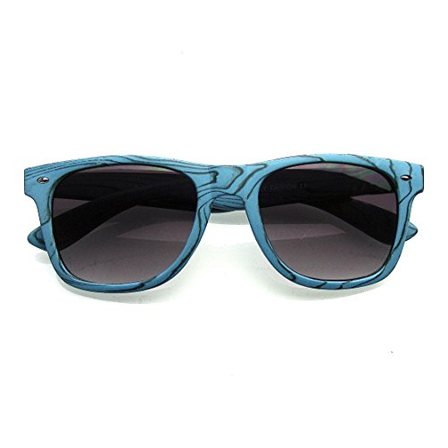 Unique Style Indie Fashion Wood Print Retro Horned Rim Sunglasses (Blue - Mens Fashion Indie