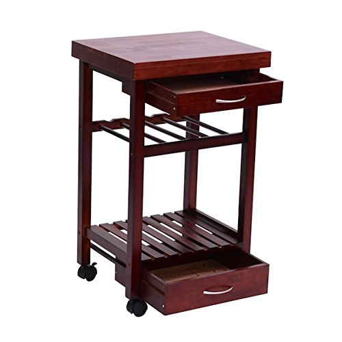 Rolling Kitchen Trolley Cart Storage Kitchen Island Serving Storage Utility Dining Portable Trolley Stand Shelf Wine Rack Spacious Drawer Solid Pine Wood Construction Compact - Mahogany Serving Cart