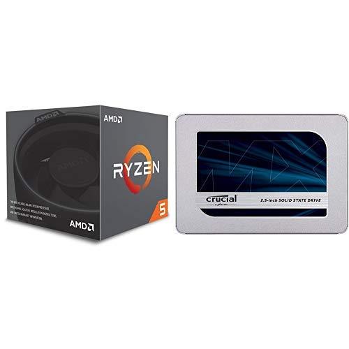 AMD CPU Ryzen 5 2600 레이스 스텔스 쿨러 YD2600BBAFBOX & 크리티컬 SSD 500GB 7mm2.5인티MX500시즈 SATA3.0 9.5mm 디프타CT500MX500SD1JP / AMD CPU Ryzen 5 2600 with Wraith Stealth cooler YD2600BBAFBOX & Crucial SSD 500GB 7mm  2.5インチ M...