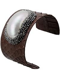 Genuine Leather Bangle Cuff Bracelet-Jeka Fashion Jewelry for Women Shell Charm Wrap Adjustable Brown