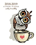 2018-2019 Academic Planner Weekly And Monthly: Calendar Schedule Organizer and Journal Notebook With Inspirational Quotes And Cute owl cartoon  bird ... December 2019) (Weekly & Monthly Planner)