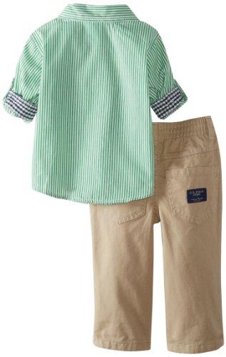 U.S. Polo Assn. Baby-Boys Infant Long Sleeve Poplin Shirt with Twill Pant